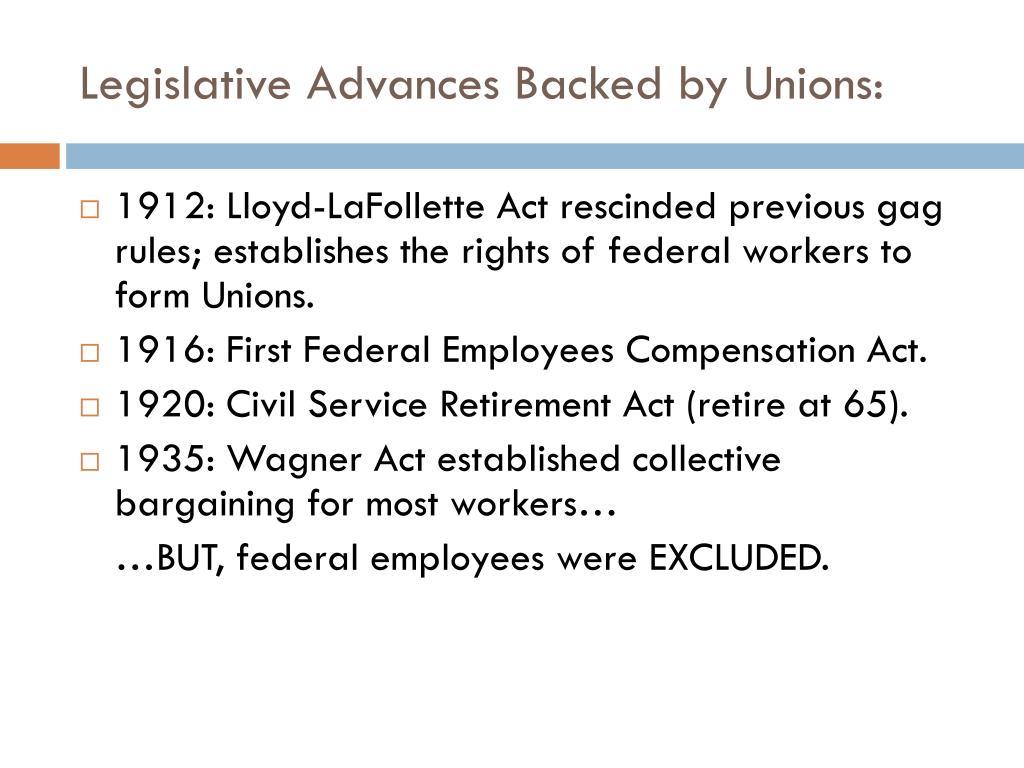Legislative Advances Backed by Unions: