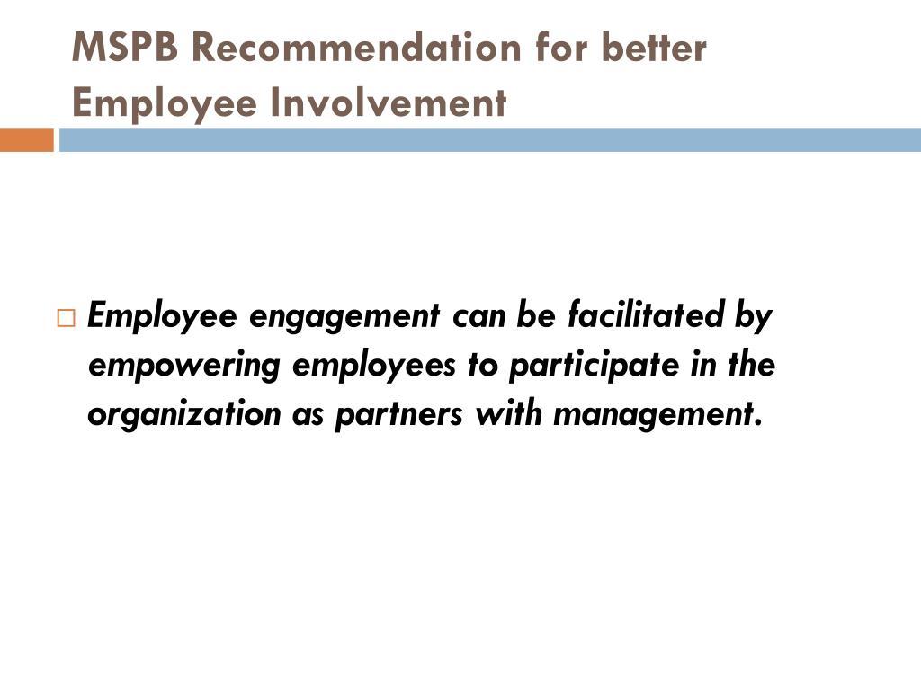 MSPB Recommendation for better Employee Involvement