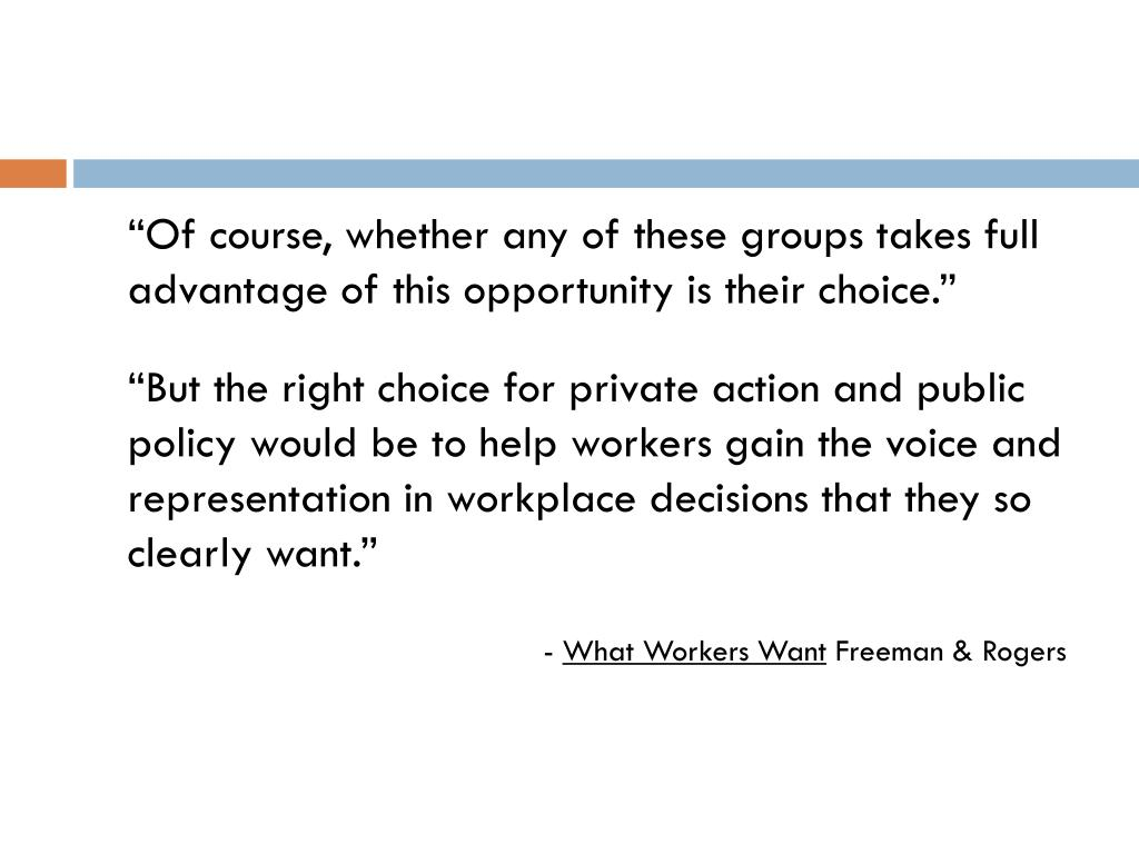 """""""Of course, whether any of these groups takes full advantage of this opportunity is their choice."""""""