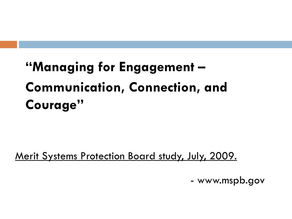 """""""Managing for Engagement –"""