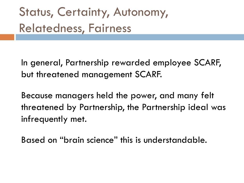 Status, Certainty, Autonomy, Relatedness, Fairness