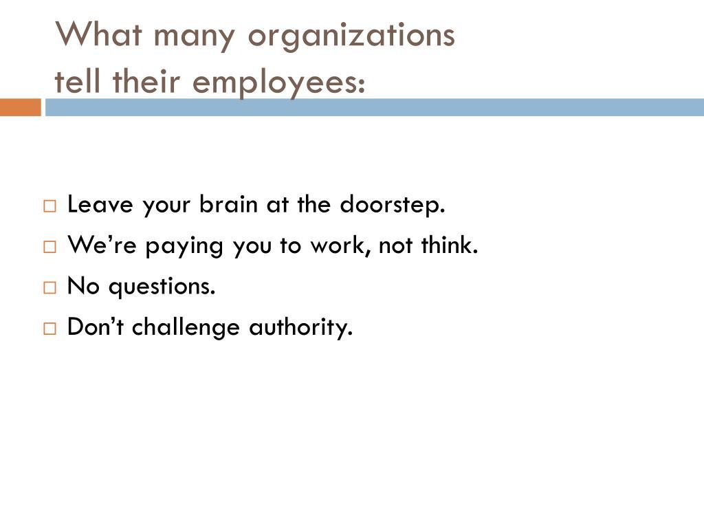 What many organizations
