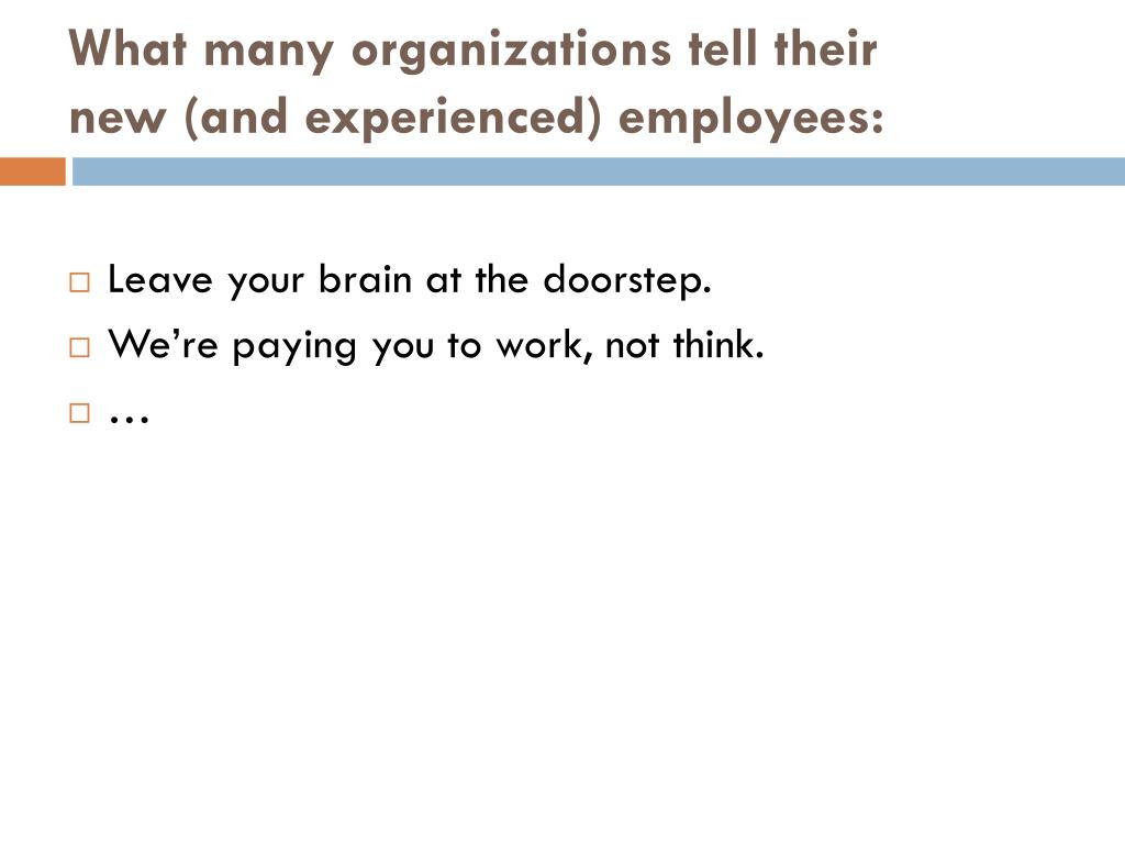 What many organizations tell their