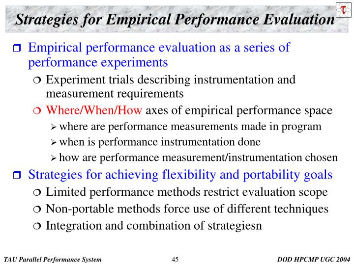 Strategies for Empirical Performance Evaluation
