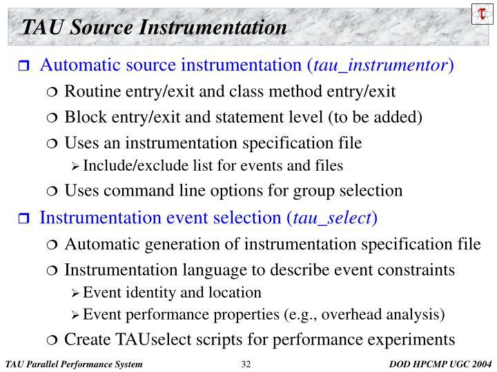 TAU Source Instrumentation