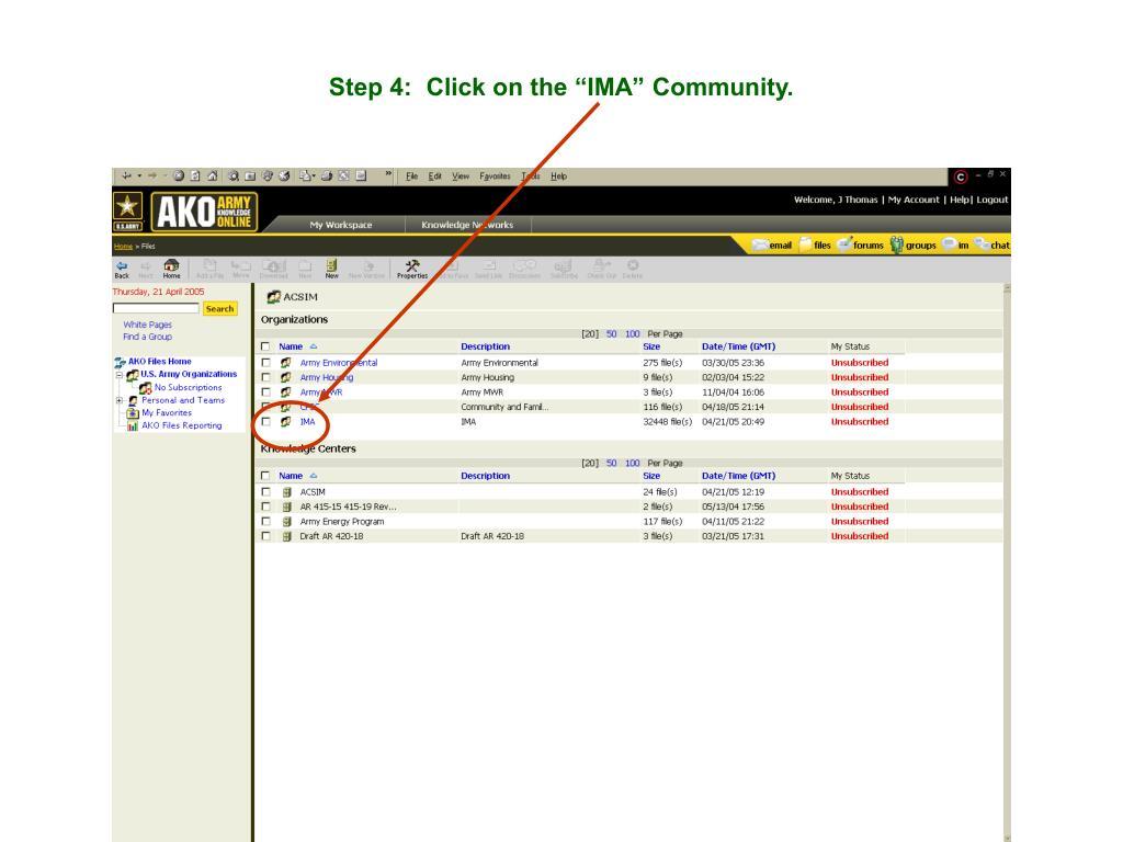 "Step 4:  Click on the ""IMA"" Community."