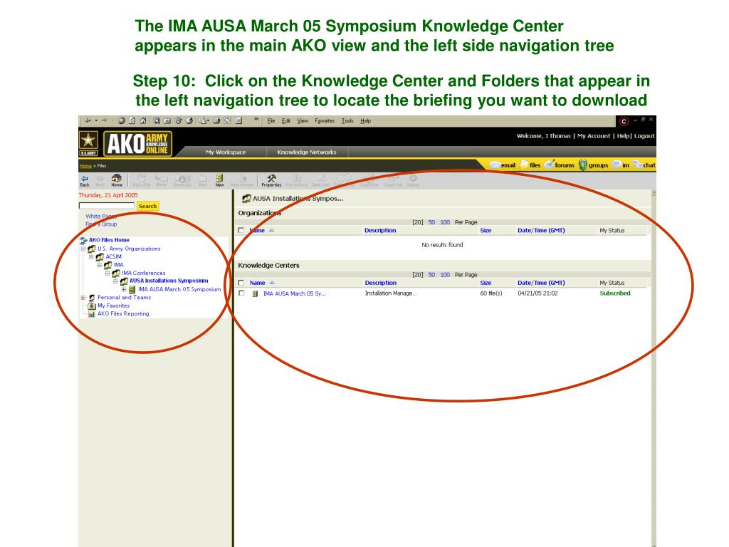 The IMA AUSA March 05 Symposium Knowledge Center appears in the main AKO view and the left side navigation tree
