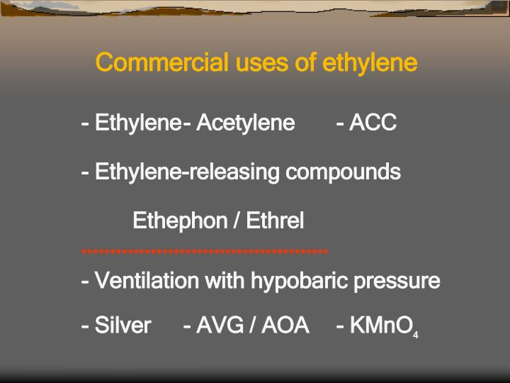 Commercial uses of ethylene