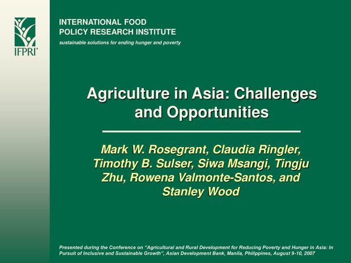 agriculture in asia challenges and opportunities n.