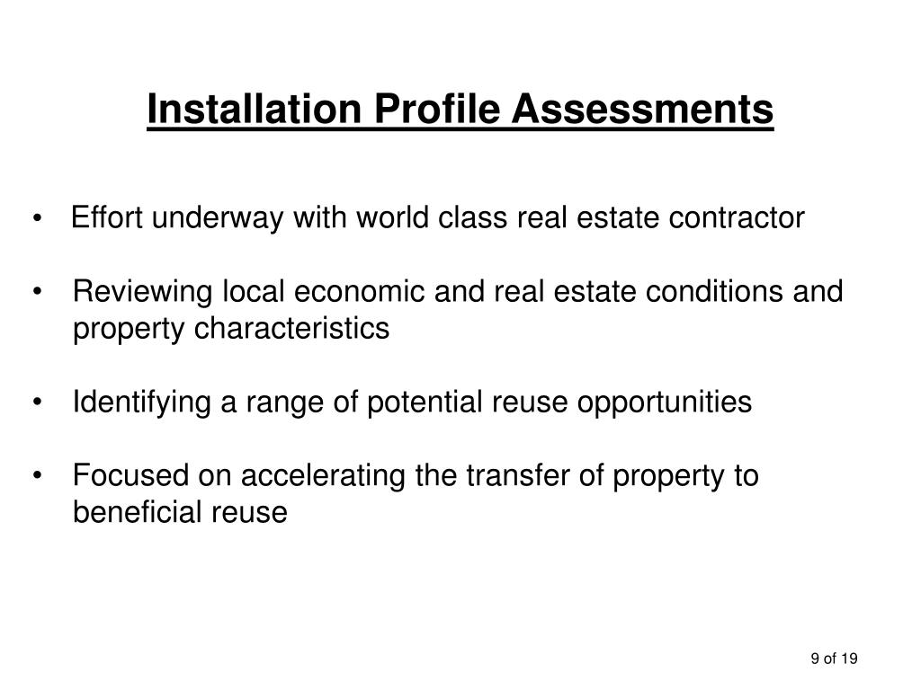 Installation Profile Assessments