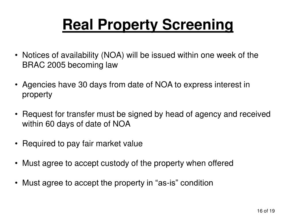 Real Property Screening