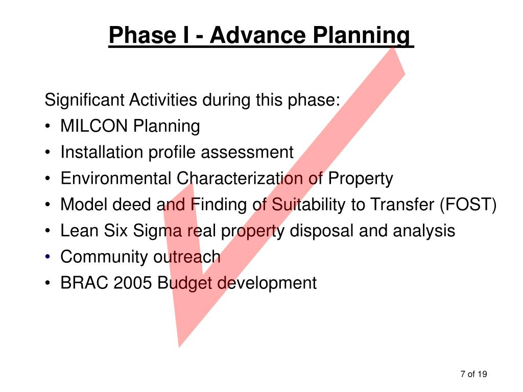 Phase I - Advance Planning