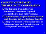 context of priority themes on tc cooperation