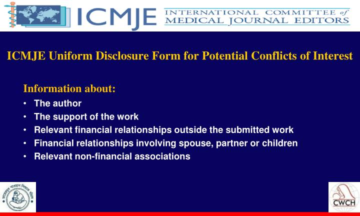 ICMJE Uniform Disclosure Form for Potential Conflicts of Interest