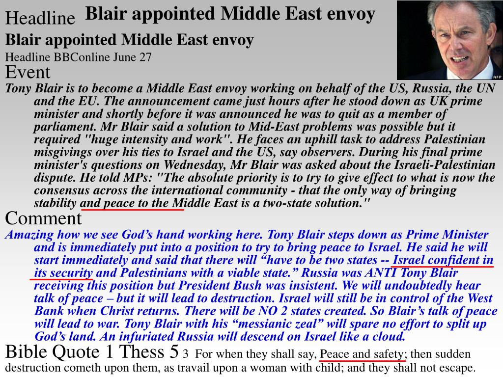 Blair appointed Middle East envoy
