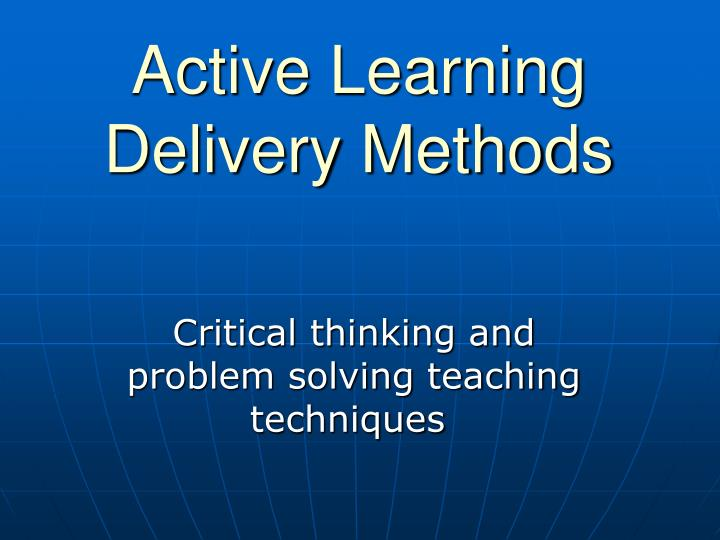 active learning delivery methods n.