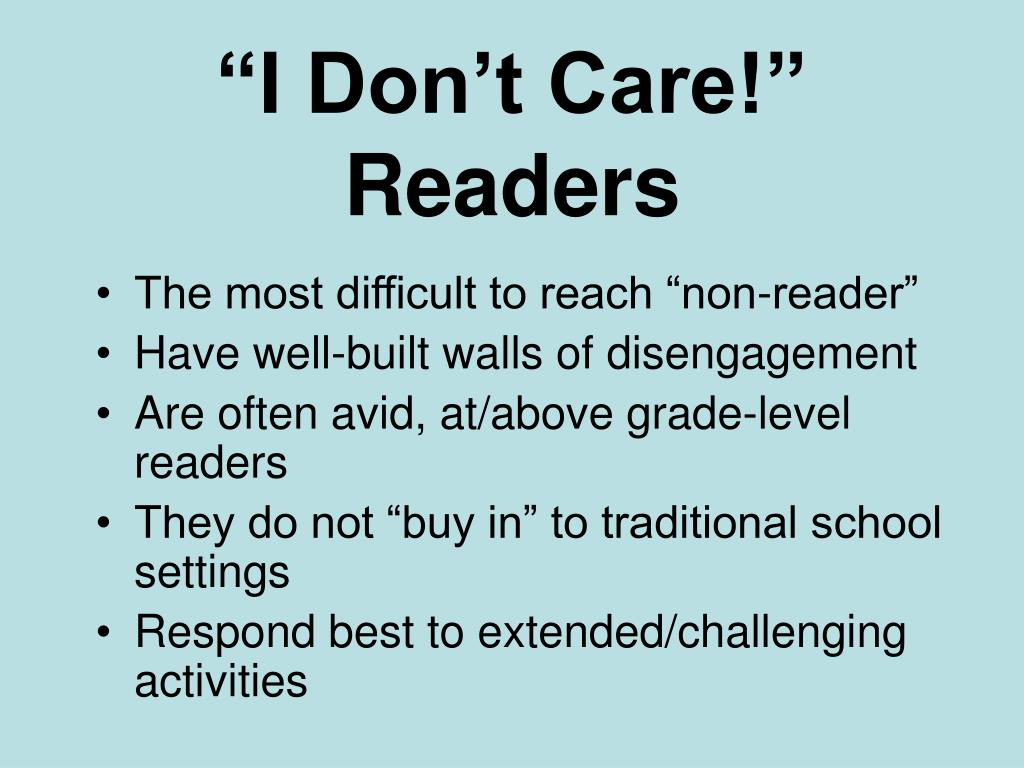 """I Don't Care!"" Readers"