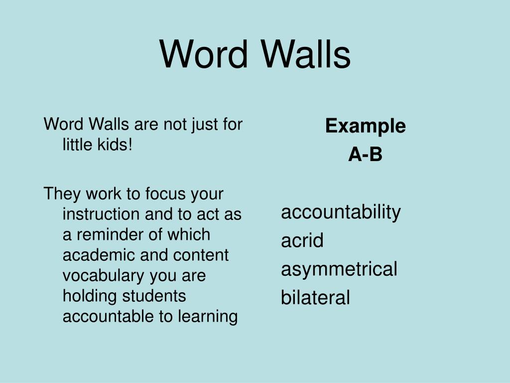 Word Walls are not just for little kids!