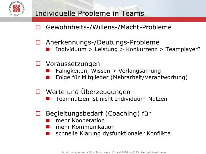 Individuelle Probleme in Teams