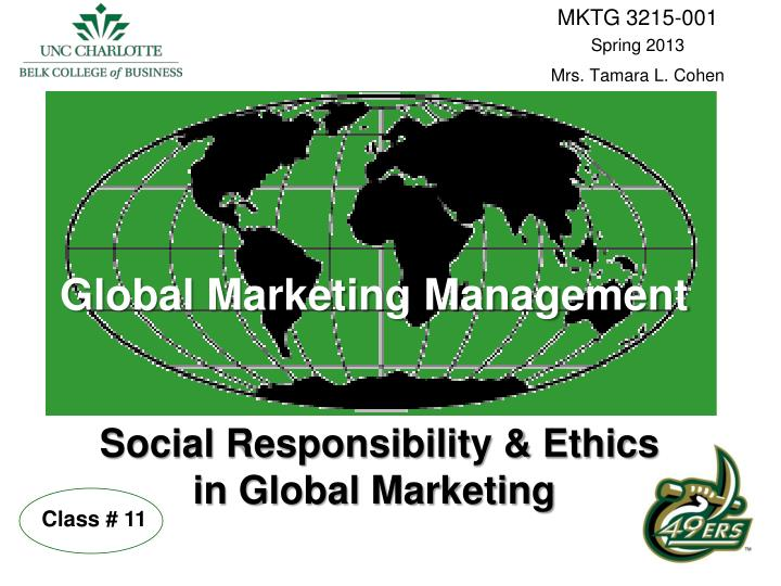 global marketing management social responsibility ethics in global marketing n.