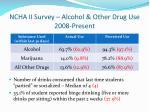 ncha ii survey alcohol other drug use 2008 present