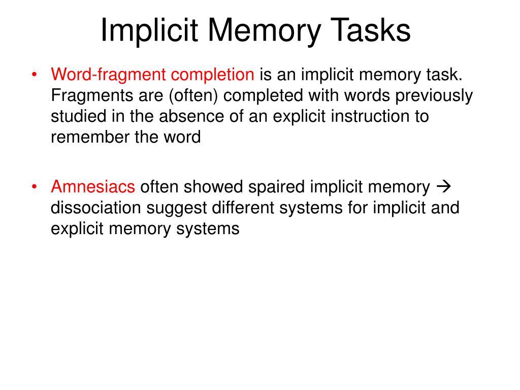 Implicit Memory Tasks