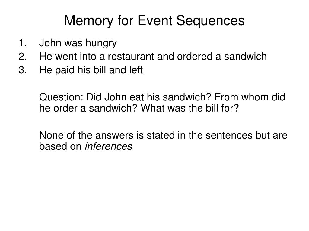 Memory for Event Sequences