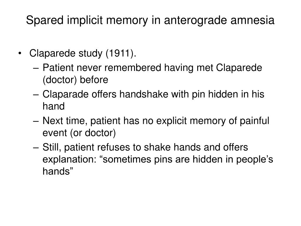 Spared implicit memory in anterograde amnesia