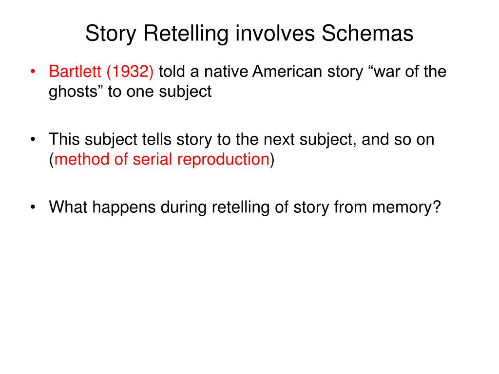 Story Retelling involves Schemas