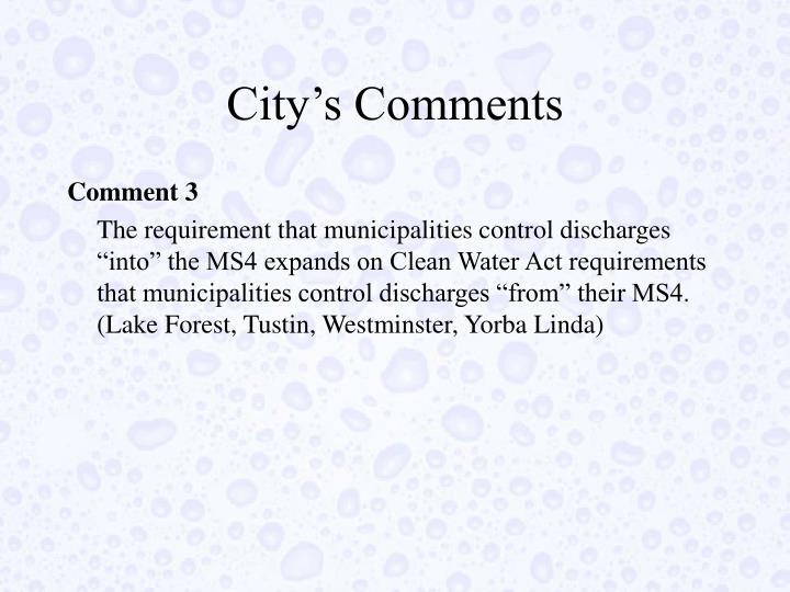 City's Comments