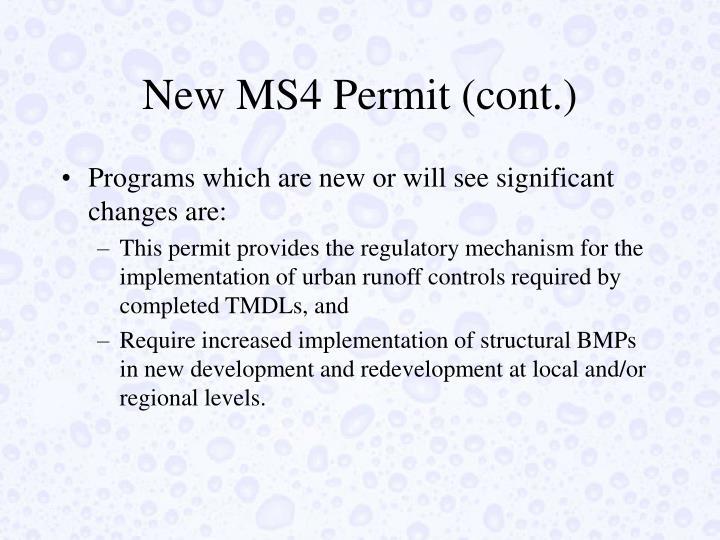 New MS4 Permit (cont.)