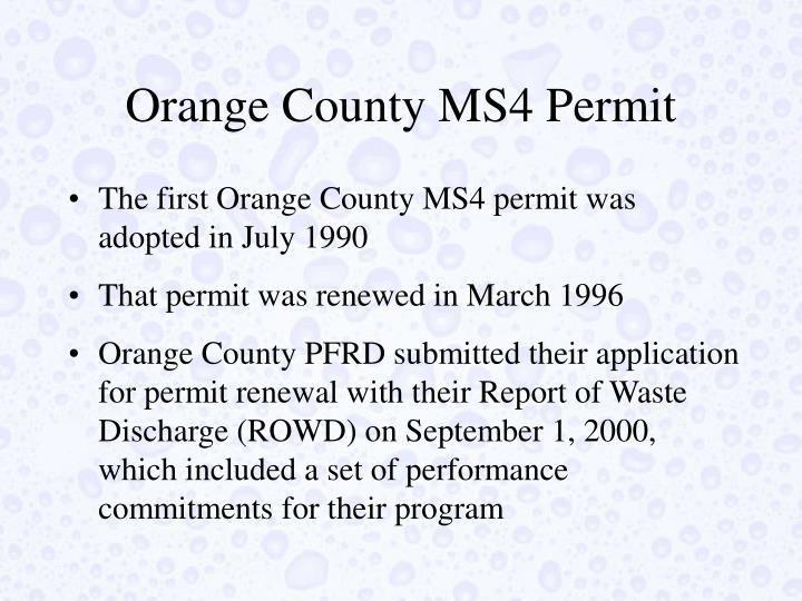 Orange County MS4 Permit