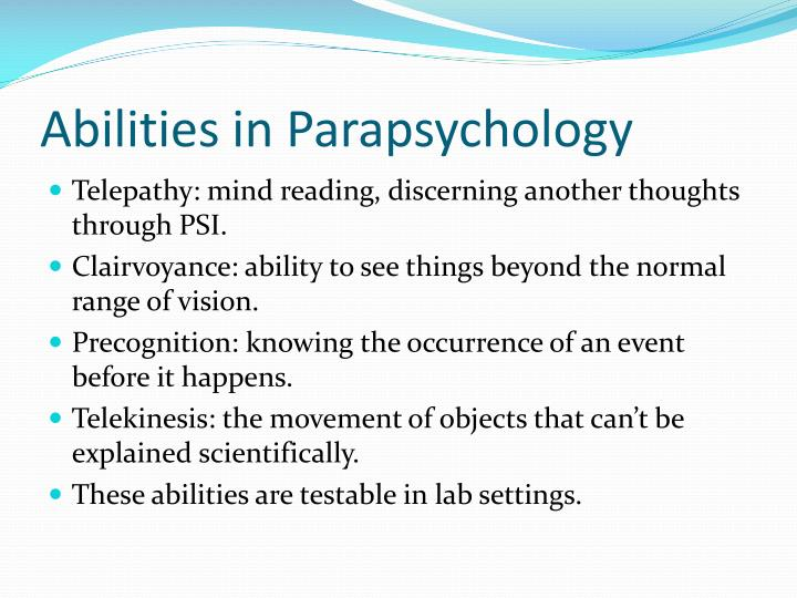 Abilities in parapsychology