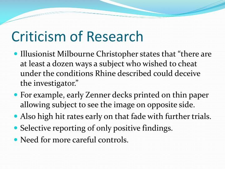 Criticism of Research