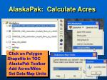 alaskapak calculate acres