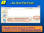 as text file first
