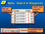 note total of waypoints