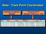 note track point coordinates