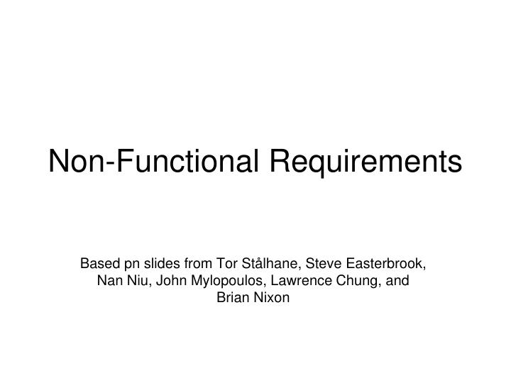 non functional requirements n.