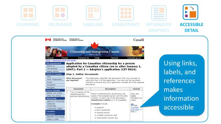 Using links, labels, and references makes information accessible