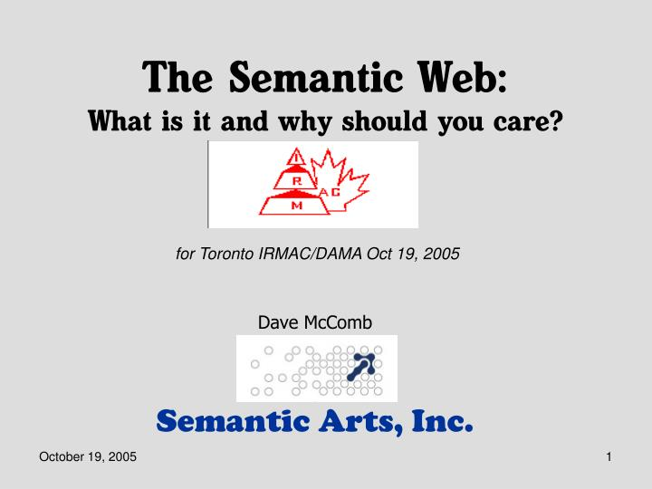 the semantic web what is it and why should you care n.