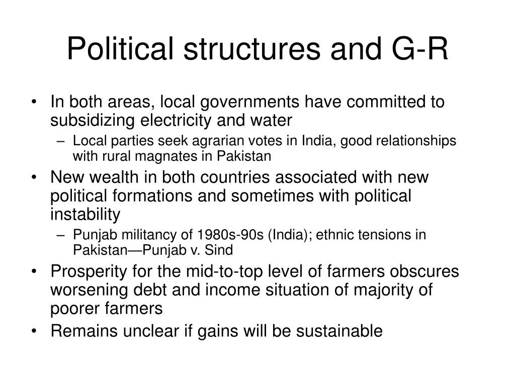 Political structures and G-R