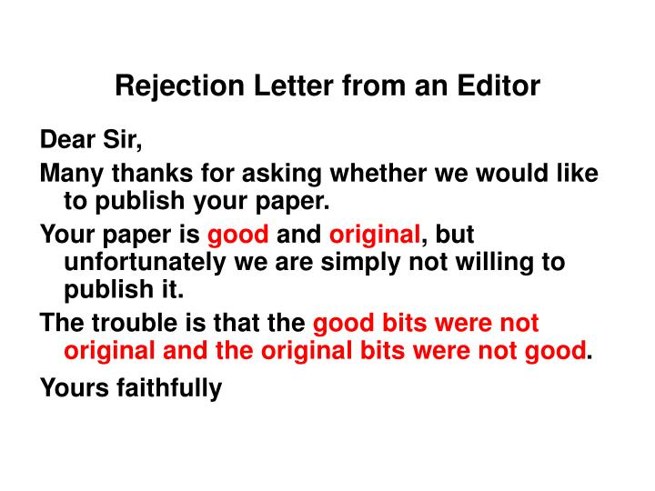 Rejection Letter from an Editor