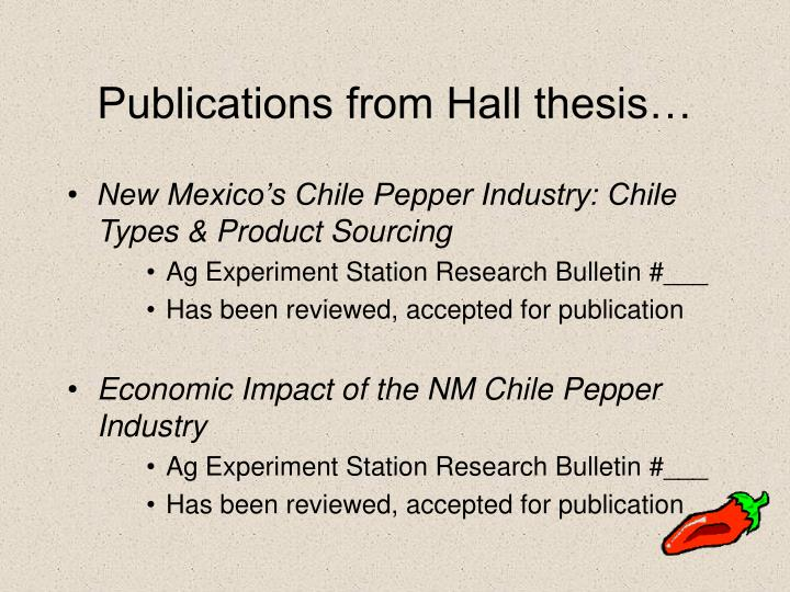 Publications from Hall thesis…