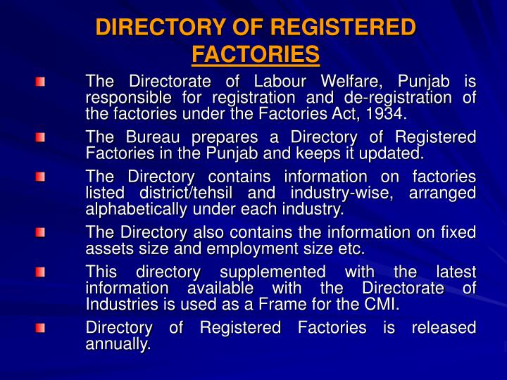 DIRECTORY OF REGISTERED