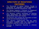 directory of registered factories
