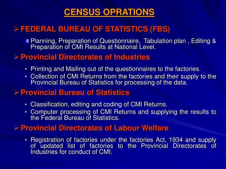 CENSUS OPRATIONS