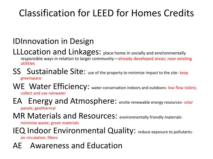 Classification for LEED for Homes Credits