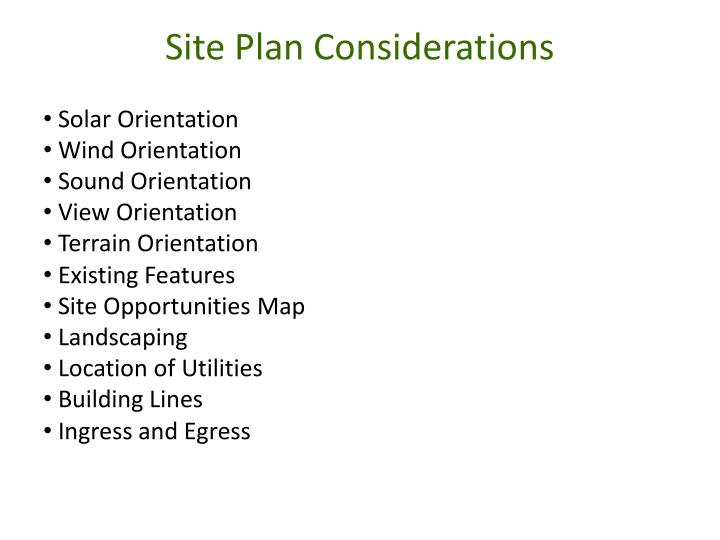 Site Plan Considerations