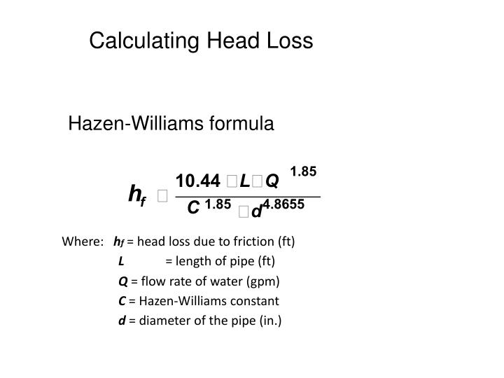 Calculating Head Loss